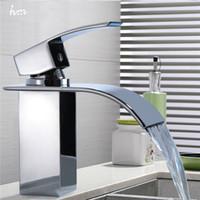 Wholesale China Basin - Wholesale- Waterfall Sink Faucet Chrome Single Handle Single Hole Mixer Bathroom Taps Widespread Basin Faucets Origin Guandong China