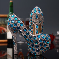Wholesale Shoes For Pageants - Luxury Waterproof Crystal Women Bridal Shoes for Wedding Diamonds Beads Lady Wedding High-Heeled Rhinestones Evening Party Pageant Prom Pump