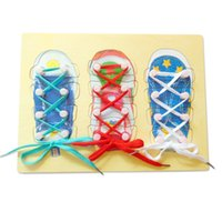 Wholesale Early Childhood - Wearing shoelaces lace with puzzle panels baby early childhood education children benefit intellectual line wearing a toy teaching aids