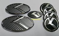Wholesale Kia Car Emblem - 7pcs set 3D sticker black&white K logo badge emblem for KIA OPTIMA K5 2011-2015  car emblems 3D sticker