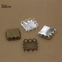 Wholesale Bronze Blanks - BoYuTe 200 Pcs 12 MM Square Cabochon Base Blank Tray Silver Antique Bronze Diy Jewelry Accessories