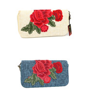 Wholesale Standard Dress China - Newly peony wallet China Embroidery wallets tranditional skill purse Clutch Bag party bag National wallets card holder wallets Q9