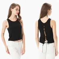 Hole Criss-Cross Bandage Gürtel Bogen Tanks Chic Hollow Out Backless Scoop Neck Ärmellos Camis Fashion Russischen Frauen Sommer Tops
