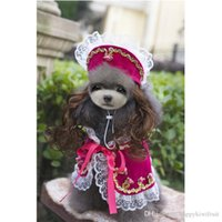 Wholesale Princess Chihuahua - Female Dog Costumes- Black Green Red Rose Red Lace Victorian Princess Elegant Cap with Wig Plus Pet Shawl Skirt Suits for Doggy Chihuahua