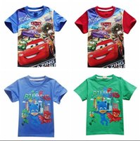 Wholesale Organic Cars - 2017 New Cars Boys Summer T-shirts PJMASKS Children Summer Cotton Tops Short Sleeve Kids Boys Cartoon Tees Baby Clothes