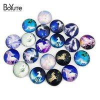 Wholesale mixed glass cabochons - BoYuTe 20Pcs 20mm Cabochon Mix Rudder Unicorn Butterfly Anchor Image Round Glass Cabochons Diy Jewelry Findings XL6505