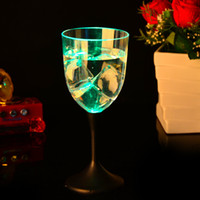 Wholesale flashing led goblet resale online - The New Pattern Flash Cup Goblet PS Material Transparent Luminous Red Wine Cups LED Bar Supplies jc R