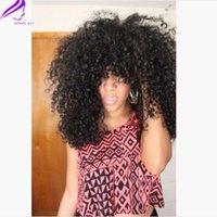 perucas 12 venda bangs venda por atacado-Hot Vendas Novo Cabelo Sintético 1B Brasileira Kinky Curly Peruca Sem Cola Com Franja Perucas Dianteiras Do Laço Sintético com franja Para As Mulheres