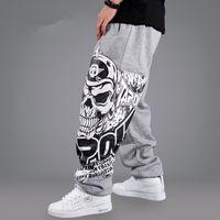 Wholesale Skull Harems - Fashion Mens Biker Pants Loose Sweatpants Harem Pants Man Skull Hip Hop Swag Clothing Men Gray Black S-3XL
