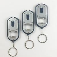 Wholesale mini black light flashlight keychain - Multifunctional Creative LED Light Flashlight Torch Mini Outdoor Keychain Key Ring Beverage Beer Bottle Opener ZA3716