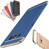 Wholesale Electroplating Battery - 3in1 Armor Slim Electroplating Case Shockproof Protective Cover for iPhone 5 6 7 8 Plus Samsung S7 S6 Edge S8 Plus