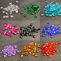 Wholesale Wholesale Green Diamond Confetti - 10mm Diamond Confetti Decorations Table Scatter Acrylic Crystal Beads Gems Wedding Party Stage Decor Black Green Pink 1set=1bag=2000pcs