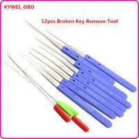 Wholesale Key Extractor Tool - High Quality KLOM 12 PCS Color Blue Fold Pick Tool Broken Key Remove Auto Locksmith Tool Key Extractor Hardware Handle DIY Tools