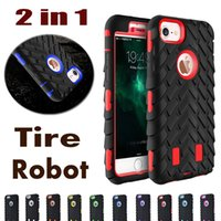 Wholesale Iphone Camo Dhl - Camo Style 2 in 1 Heavy Duty Hybrid Defender Rugged Armor Tire Robot Dual Color Shockproof Hard Cover Case For iPhone 8 7 Plus 6 6S DHL