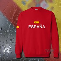 Wholesale Spanish Suit - Wholesale- Spain hoodies men sweatshirt sweat suit streetwear socceres jersey footballer tracksuit nation Spanish flag fleece 2017 ES ESP
