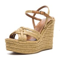 Wholesale New Wedges Sandals Design - New Design Straw Knitted High Heel Sandals Ankle Strap 6cm High Platform Wedges Summer Shoes Cross Knitted Women Shoes