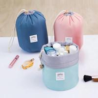 Wholesale Makeup Light Box - 4 Colors 17*23cm Barrel Shaped Travel Cosmetic Storage Bag Nylon Drum Washable Makeup Organizer Pouch Cosmetic Makeup Bag CCA6629 200pcs