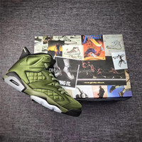Wholesale Boxing Jacket - Newest Air Retro 6 Flight Jacket Basketball Shoes Sneakers Men Nylon Army Green Top Quality With Original Box 2017 Newest AH4614-303