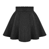 Wholesale Woolen Pleated Mini Skirt - 2015 New Winter Ladies High Waist Skirts Womens Woolen Midi skirt Ladies Tutu Pleated Skirt Plus Size mini skirt saia Gray Black q0425