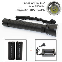 Wholesale Flashlight Dimmer - NEW CREE XHP50 4000Lm LED Diving Flashlight Underwater Support Stepless Dimming Waterproof 100M Diving Tactical Flashlight DL0042