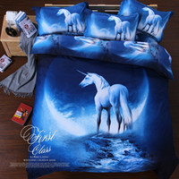 Wholesale Doona Cover Sets - Wholesale-3D galaxy bedding set horse print duvet doona cover bed sheet pillow cases 3 4pcs queen twin XL size bed linen set