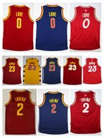 Gioventù 23 LeBron James Jersey cucito sui ragazzi 2 Kyrie Irving Throwback Red Blue Natale Giorno Bambino Bambini 0 Kevin Love Basketball Jersey