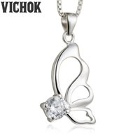 Wholesale Butterfly Necklace Purple - 925 Sterling Silver Pendant&Necklace Butterfly 4.75mm Pendant Necklace For Women Lover Fine Jewelry White Purple Colors Free Shipping VICHOK
