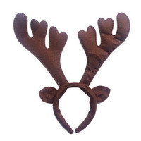 Wholesale Christmas Ornaments Photos - Wholesale-Christmas Reindeer Antlers Headband Headwear Photo Props Party Accessories Brown
