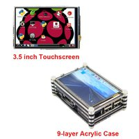 Wholesale Touchscreen Case - Freeshipping New Raspberry Pi 3.5 inch Touchscreen LCD Display for Raspberry Pi 3 2 + Black   Red 9 layer Acrylic Case