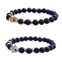 Wholesale Evil Eye Green - The hand of Fatima evil beads Volcano eye bracelet Natural stone bracelet