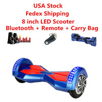 Wholesale Two Wheel Scooter Led Bluetooth - USA Stock Skateboard Smart Scooter Self Balancing Wheel Electric Hoverboard Bluetooth Remote Bag LED Scooters 8 inch Two Wheels Dropshipping