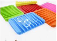 ingrosso piatti carini-Fashion New Candy Scatola portasapone in silicone Piatti di sapone simpatico cartone animato possono far cadere Portasapone Accessori da bagno 11,5 * 8 * 1 cm