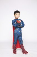Wholesale Latex Clothing For Men - superman costume for New Arrival Child Clothing Deluxe Muscle Superman Christmas Costume for kids Cosplay Jumpsuit with Cape
