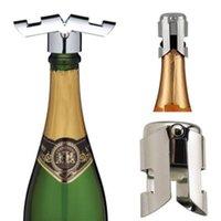 ingrosso bottiglia a vuoto tappo vino sigillato-Apri bottiglia di birra in acciaio inox Vuoto sigillato Sparkling Champagne bottiglia di vino Saver tappo tappo apribottiglie per strumento Bar
