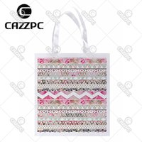 Wholesale Aztec Bags - Wholesale- Girly Pink White Floral Geometric Abstract Aztec Bohemia Print Lightweight Polyester Fabric Reusable Grocery Bag Pack of 4
