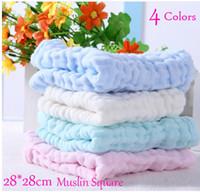 Wholesale Gauze Muslin Cloth - Wholesale 10pcs 6 layers Plain Baby Bibs Gauze Muslin Newborn Face Towel Cotton Kids Wash cloth Handkerchiefs Infant Feeding Saliva Towel