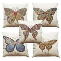Wholesale decorative butterfly pillows - Mosaic Butterfly Pattern Linen Cushion Cover Home Office Sofa Square Pillow Case Decorative Cushion Covers Pillowcases Without Insert(18*18)