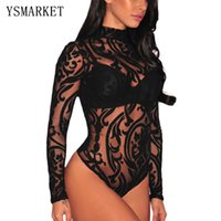 Wholesale Sexy Mesh Women Jumpsuit - Nude Transparent Sexy Bodysuit Women Rompers Bodycon Jumpsuit Black Sheer Mesh Print Bodysuit See Through Turtleneck Bodysuits E32110