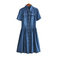2017 Estate Denim Dress Women Fashion Casual Single Slim Lungo Elegante Ufficio Party Vestidos maniche corte Abiti 4XL