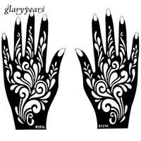 el dövme desenleri toptan satış-Toptan-1 Çift Eller Kadınlar için Mehndi Kına Dövme Stencil Çiçek Desen Tasarım Vücut El Sanat Boyama Tek Kullanımlık 20 cm * 11 cm S121