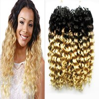 Wholesale Micro Hair Extensions 1b - Wholesale- Afro Kinky Curly Micro Loop Hair Extensions 1B 613 Ombre Curly Hair 200g Mongolian Kinky Curly Micro Bead Hair Extensions 2pcs