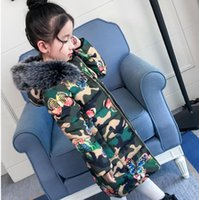 Wholesale Children Winter Trench Coats - Kids Girls Warm Coat Baby Girls Camuflage Fur Hat Hooded Trench Coat 2018 Winter Infant Princess Jackets Outwear Children Coats Clothing