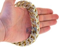 Wholesale Red Gram - Mens Diamond Franco Link Bracelet Solid 10K Yellow Gold 43.11 ct 410 grams