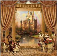 Wholesale Castle Background Photography - Retro Castle Painting Brick Floor Fotografia Backgrounds Photo Studio Props 5X7ft Thin Vinyl Cloth Photography Backdrops