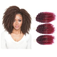 Wholesale Colorful Hair Twists - Wholesale-3pcs set Colorful 8-10inch Marley Braid Afro Kinky Curly Crochet Hair Extension Ombre Marlibob Twist Braiding Synthetic Hair