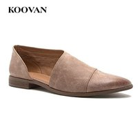 Wholesale american party shoes online - Big Size Fashion Women Lazy Shoe Flats Ladies Pointed Loafer American Hot Sale Koovan New Show Shoes Shallow Mouth W412