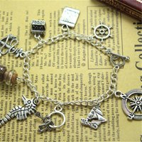 Wholesale Wholesale Caribbean Gifts - 12pcs lot Pirates of the Caribbean Charms Bracelet