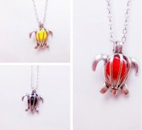 Wholesale Small Ball Necklace Chain - New Fashion Unisex Lovely Small Turtle Silver Plated Colorful Balls Pendant Necklace Jewelry Gifts Free Shipping