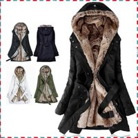 Wholesale Winter Jackets Fur Inside - new arrival Thick Faux fur lining women's fur Hoodies winter warm long fur inside coat jacket cotton clothes thermal parkas AA1607