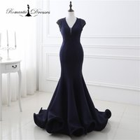 Wholesale Beaded Fit Flare Gown - 100% Real Photo Navy Blue Cap Sleeves Beaded Mermaid Flared Bottom Evening Gowns Sexy Ladies V Neck Fitted Party Prom Dresses